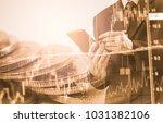 double exposure businessman and ...   Shutterstock . vector #1031382106