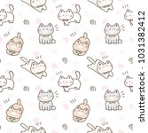 Stock vector seamless pattern of cute cartoon cat design on white background with pink hearts 1031382412