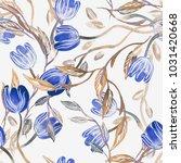 tulips seamless pattern.... | Shutterstock . vector #1031420668