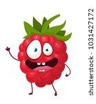 raspberry cartoon  vector... | Shutterstock .eps vector #1031427172