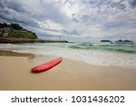 red surfboard laying on...   Shutterstock . vector #1031436202