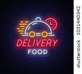 food delivery neon sign. logo... | Shutterstock .eps vector #1031440342
