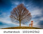lonely tree and old wooden... | Shutterstock . vector #1031442562