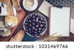 breakfast with bread. tablet on ... | Shutterstock . vector #1031469766