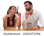 beautiful couple saving money...   Shutterstock . vector #1031471356