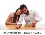 beautiful couple saving money...   Shutterstock . vector #1031471362