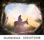 palm sunday concept  silhouette ... | Shutterstock . vector #1031471548