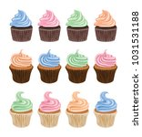 vector set of colorful cupcake... | Shutterstock .eps vector #1031531188