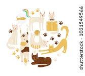 cats vector concept  friendly... | Shutterstock .eps vector #1031549566