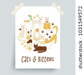 cats vector poster concept ... | Shutterstock .eps vector #1031549572