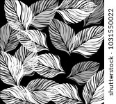 leaves black and white... | Shutterstock .eps vector #1031550022