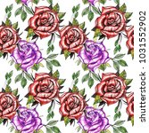 decorative watercolor roses in ... | Shutterstock . vector #1031552902