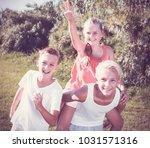happy children running together ... | Shutterstock . vector #1031571316