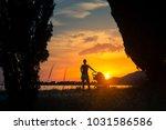 mother with baby in stroller... | Shutterstock . vector #1031586586