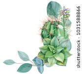 greeting card  eucalyptus...   Shutterstock . vector #1031588866