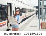 traveler girl with map  hat and ... | Shutterstock . vector #1031591806