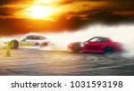 abstract blurred two drifting... | Shutterstock . vector #1031593198