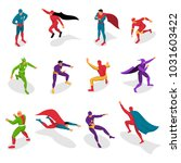 super heroes in colorful... | Shutterstock .eps vector #1031603422