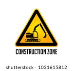 construction zone warning sign  ... | Shutterstock .eps vector #1031615812
