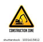 construction zone warning sign  ... | Shutterstock .eps vector #1031615812