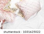 bedding with a trendy pink... | Shutterstock . vector #1031625022