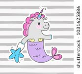 cute fairy unicorn with mermaid ... | Shutterstock .eps vector #1031625886