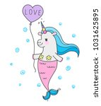 cute fairy unicorn with mermaid ... | Shutterstock .eps vector #1031625895