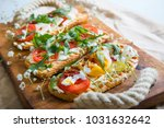 toasts with egg  aragula ... | Shutterstock . vector #1031632642
