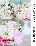 floral arrangement with pink... | Shutterstock . vector #1031634178
