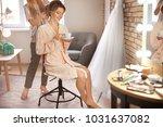 hairdresser preparing bride... | Shutterstock . vector #1031637082