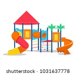 kids playground with slides and ... | Shutterstock .eps vector #1031637778