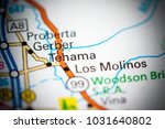 Small photo of Tehama. California. USA on a map.