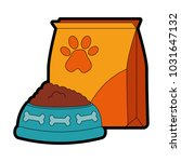 mascot food bag with dish | Shutterstock .eps vector #1031647132