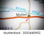 mullen. nebraska. usa on a map. | Shutterstock . vector #1031660452