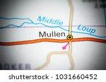 mullen. nebraska. usa on a map. | Shutterstock . vector #1031660452