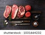 variety of raw black angus... | Shutterstock . vector #1031664232