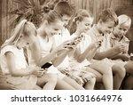 group of friendly children... | Shutterstock . vector #1031664976
