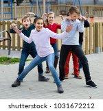 happy spanish  children showing ... | Shutterstock . vector #1031672212