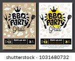 bbq party food poster. barbecue ... | Shutterstock .eps vector #1031680732