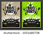 bbq party food poster. barbecue ... | Shutterstock .eps vector #1031680738