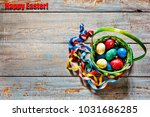 happy easter  easter colored... | Shutterstock . vector #1031686285