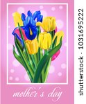 mother's day bouquet tulips on...   Shutterstock .eps vector #1031695222