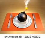 a lit bomb on a plate with fork ... | Shutterstock . vector #103170032