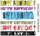happy birthday doodles | Shutterstock .eps vector #103172615