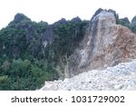 limestone mining in the morning. | Shutterstock . vector #1031729002