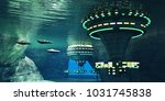 alien cave 3d illustration  ... | Shutterstock . vector #1031745838