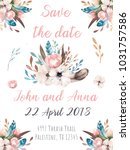 watercolor invitation card with ... | Shutterstock . vector #1031757586