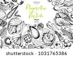 hand drawn farm vegetables.... | Shutterstock . vector #1031765386