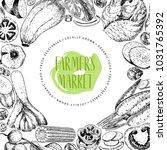 hand drawn farm vegetables.... | Shutterstock . vector #1031765392