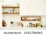 white tiles wall modern kitchen ... | Shutterstock . vector #1031786065